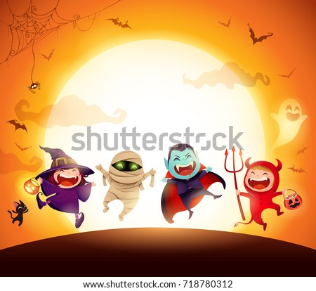 Halloween Kids Costume Party. Group of kids in Halloween costume jumping in the moonlight. Orange background.