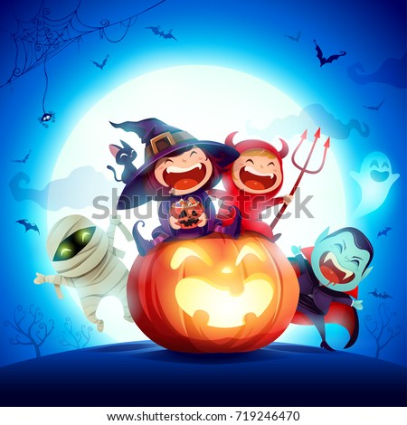 Halloween Kids Costume Party. Group of kids in halloween costume sitting on a giant pumpkin. In the moonlight. Blue background.