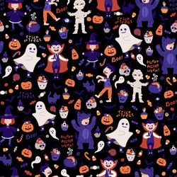 Halloween kids costume party seamless pattern. Children in various costumes. Vector illustration of Halloween characters, lettering, candies and elements in cartoon hand drawn style. Black background.