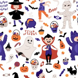 Halloween kids costume party seamless pattern. Children in various costumes. Vector illustration of Halloween characters, lettering, candy, and elements in cartoon hand-drawn style. White background.