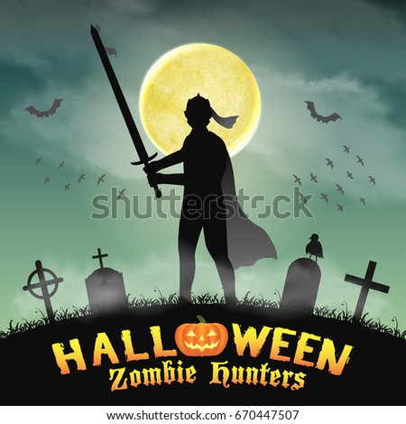 halloween knight with sword in