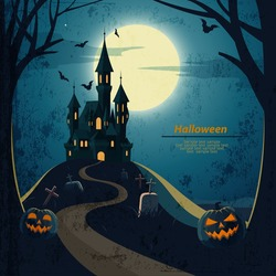Halloween landscape  with castle and cemetery.