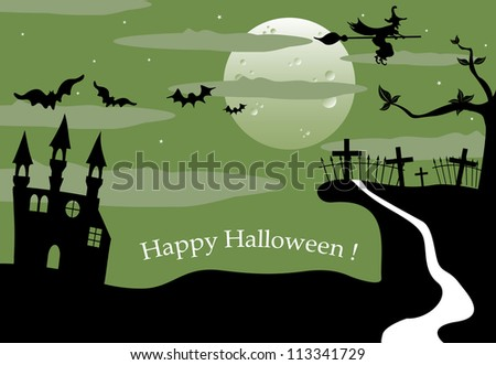 Halloween landscape with full moon, ancient castle, bats, witch flying on her broom and a creepy cemetery on a small hill. Halloween theme