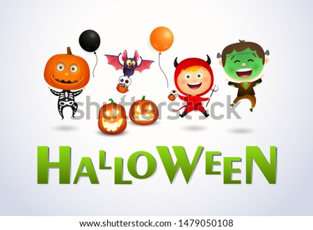 Halloween lettering and happy kids wearing monsters costumes. Invitation or advertising design. Typed text, calligraphy. For leaflets, brochures, invitations, posters or banners.