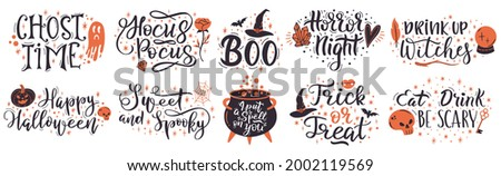 Halloween lettering quotes. Handwritten halloween phrases, put a spell on you and trick or treat vector set. Spooky halloween lettering. Halloween handwritten typography, quote and greeting lettering