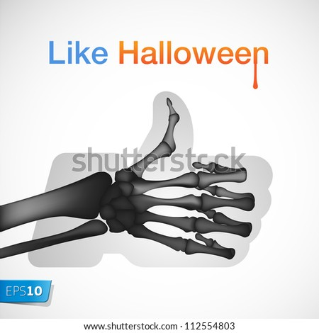 Halloween Like/Thumbs Up symbol, vector Eps 10 illustration.