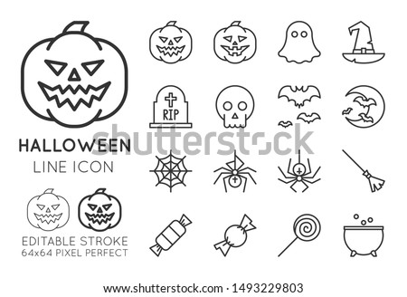 Halloween line icon set. Pumpkin, ghost, witch hat, grave, scull, bat, moon, spider web, candies, magic pot. Pixel perfect editable stroke vector simple outline illustration isolated.