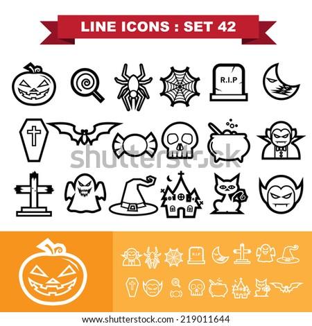 halloween line icons set 41