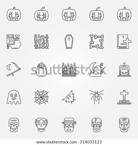 halloween linear icons set