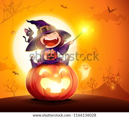 Halloween little witch. Girl kid in Halloween costume sits on a giant pumpkin. Magic wand and candies on hand. #1166136028