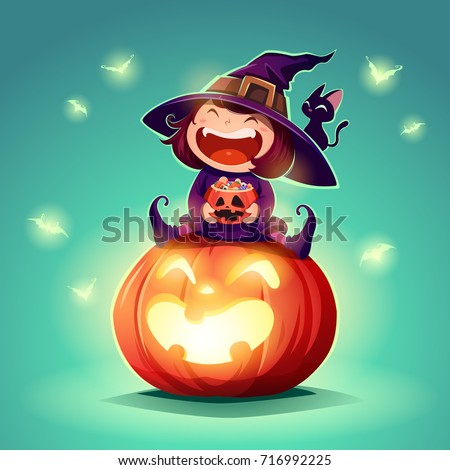 Halloween little witch. Girl kid in halloween costume sits on a giant pumpkin. Retro vintage. Turquoise background.