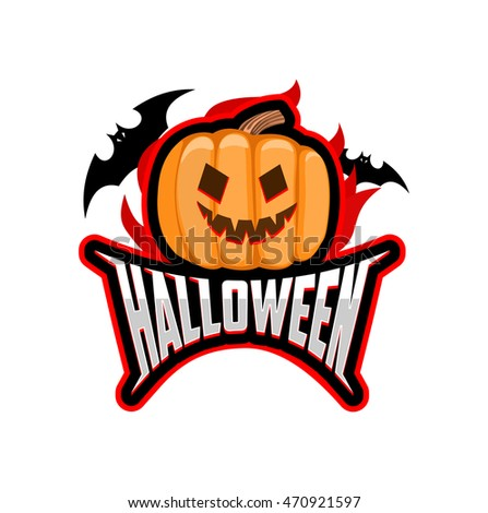 Halloween Logo, vector, icon,  badge. Pumpkin in flame on white background and two bats .