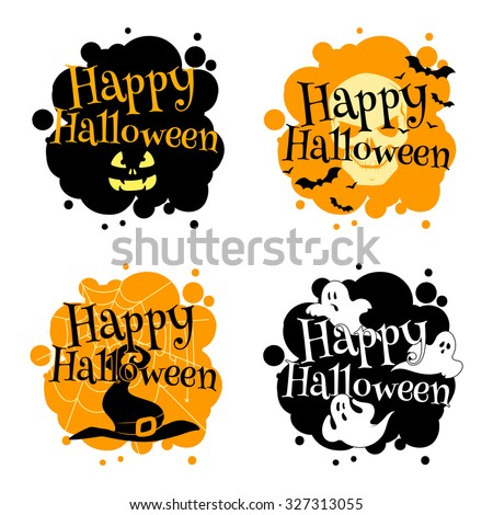 halloween logo with ghosts