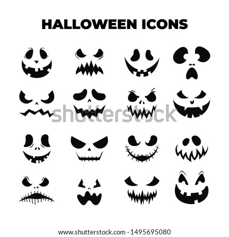 Halloween Masks. Smiling faces. Pumpkin smile. Vector