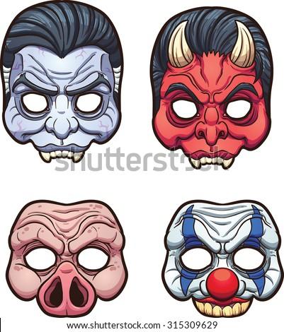 halloween masks vector clip