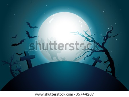 halloween midnight. vector illustration. Elements are layered separately in vector file. #35744287