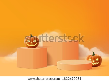 Halloween minimal scene 3d with smoke and podium platform. Halloween background vector 3d rendering with pumpkin podium. stand to show products. Stage Showcase on pedestal orange pumpkin halloween 3d