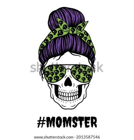 Halloween mom. Female skull with aviator glasses bandana and skull print. Mom skull with messy bun. Vector illustration.  Isolated on white background.