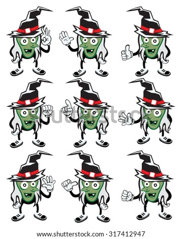 Halloween monster costume.vector 9 set of cute Witch with hand gestures