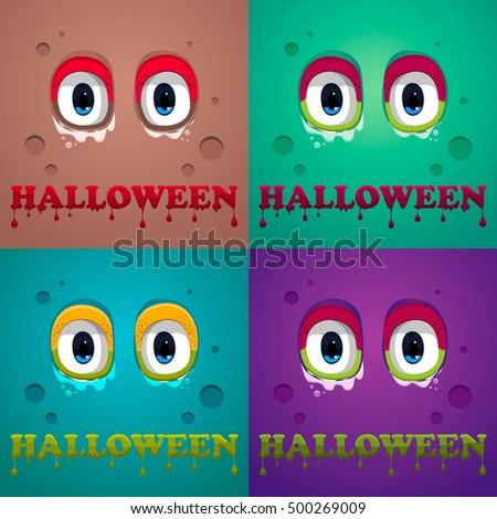 Halloween. Monster eyes. Vector, eps10. Monster eyes on background. Halloween poster design. Flat Halloween monster Icon.