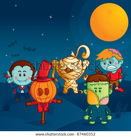halloween monster parade, the funny monsters ready to attack #87460352