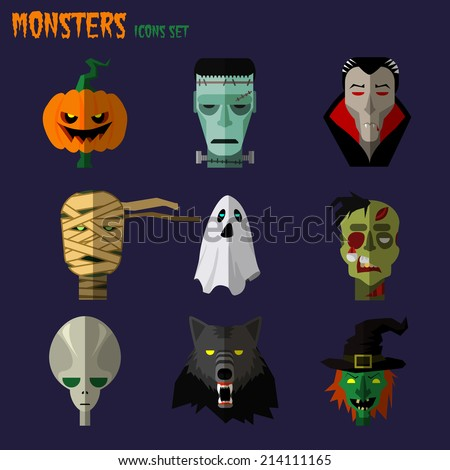 halloween monster set of icons