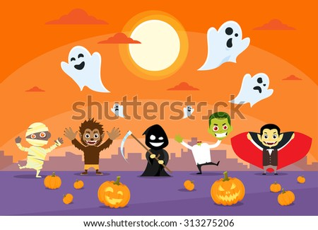 halloween monsters banner card