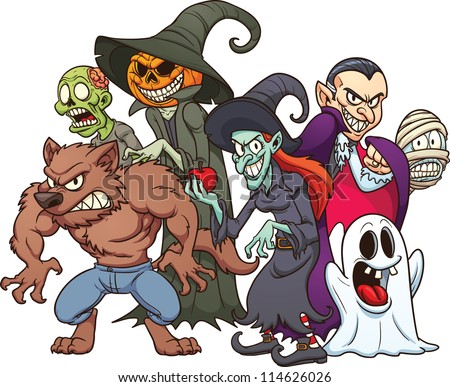 halloween monsters cartoon