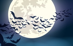 Halloween moon. Scary october night moon with flying bats flock spooky vector background