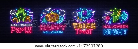 Halloween neon sign collection vector. Halloween Party Design template and web for banner, poster, greeting card, party invitation, light banner. Isolated illustration