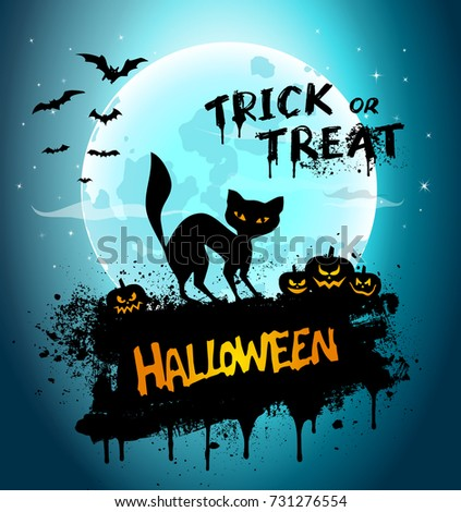 "Halloween night background picture with cat, pumpkins and hand lettering ""Trick or Treat"". Vector elements for banner, greeting card halloween celebration, halloween party poster."