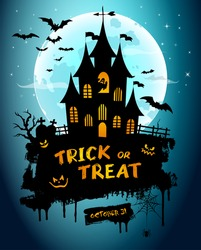 Halloween night background picture with creepy castle, pumpkins and hand lettering