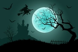 Halloween night background. Witch flying on a broomstick on the background of a full moon over the castle. Vector illustration