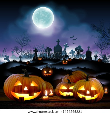 Halloween night  background with a cemetery and pumpkins and  moon. High detailed realistic illustration
