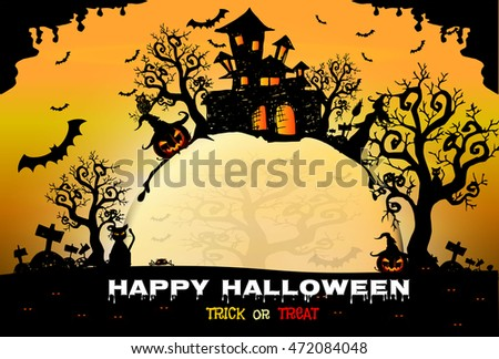 Halloween night background with creepy castle and pumpkins, illustration Happy Halloween vector design