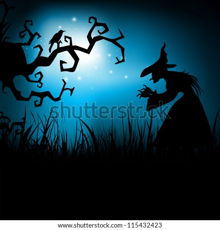 Halloween night background with dead tree and witch silhouette. EPS 10.