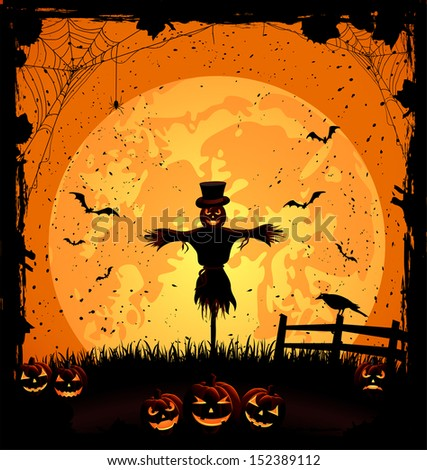 Halloween night background with full Moon, pumpkins and scarecrow, illustration