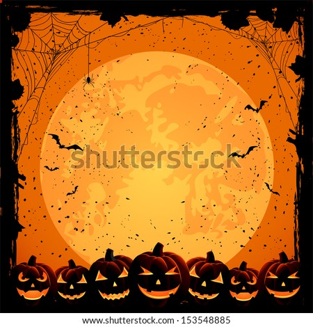 Halloween night background with full Moon, pumpkins and spiders, illustration