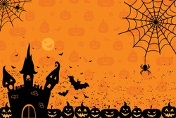 Halloween night background with full pumpkins and spiders.