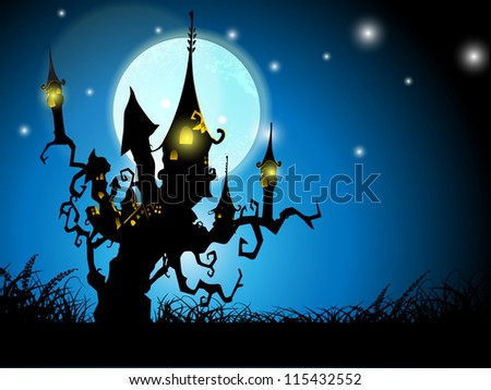 Halloween night background with haunted house on dead tree. EPS 10.
