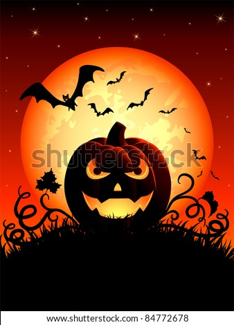 Halloween night background with Jack O' Lantern, illustration