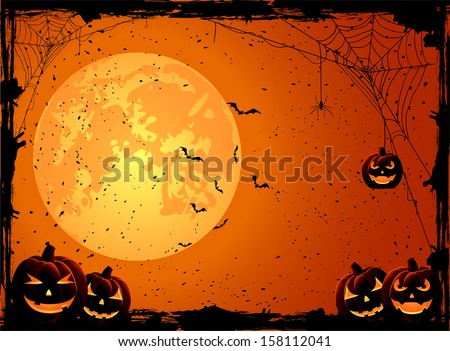 Halloween night background with Moon and Jack O' Lanterns, illustration.