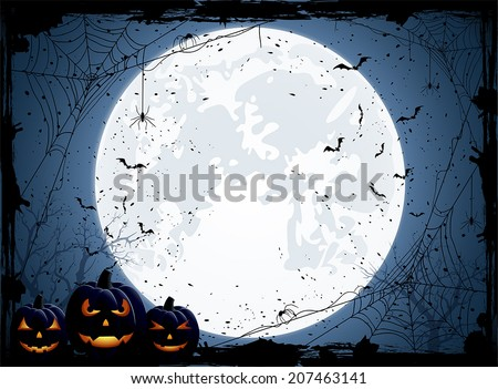 Halloween night background with Moon, spiders and Jack O' Lanterns, illustration.