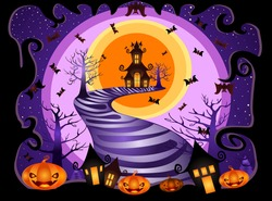 Halloween night background with pumpkin, bat, haunted house and full moon.Vector illustration
