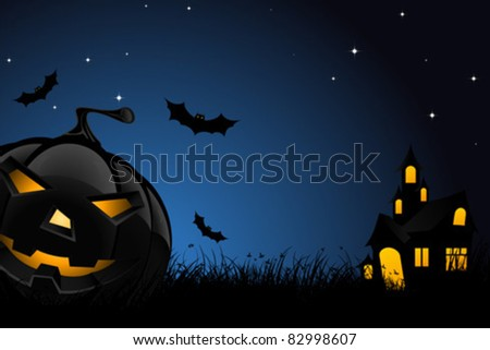 Halloween night background with pumpkin  bats house and stars
