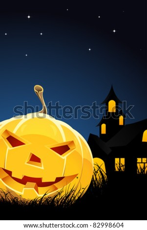 Halloween night background with pumpkin grass and house