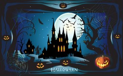 Halloween night background with pumpkin, haunted house and full moon. Wallpaper or invitation template for Halloween party, advertising. Fantasy Vector illustration.