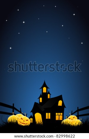 Halloween night background with pumpkins  house and stars