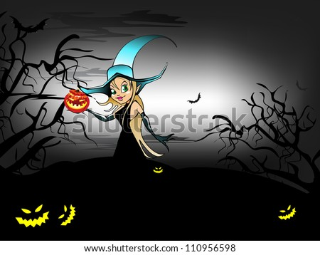 Halloween night background with witch and scary pumpkins. EPS 10.