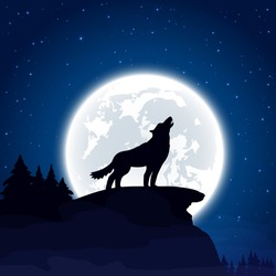 Halloween night background with wolf and Moon, illustration.